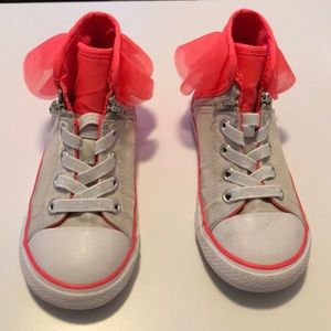 Girls Grey High Top Converse w/ pink tutu